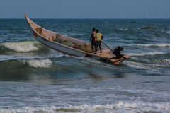 Indian fishermen on boat Stock Images