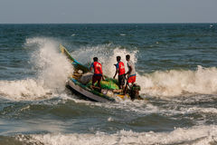 Indian fishermen on boat Stock Image