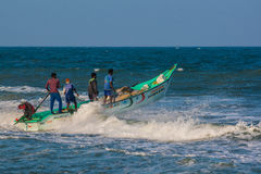 Indian fishermen on boat Royalty Free Stock Images