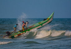 Indian fishermen on boat Stock Photography