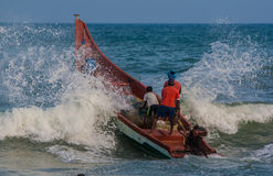 Indian fishermen on the boat Royalty Free Stock Image