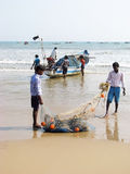 Indian fishermen are carrying the nets Royalty Free Stock Image