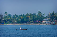 Indian fishermen at the city port Kochin, India. Royalty Free Stock Photography
