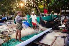 Indian fishermen on the sea beach Royalty Free Stock Photography