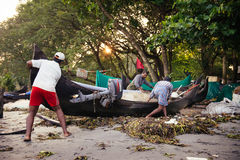 Indian fishermen on the sea beach Stock Photography