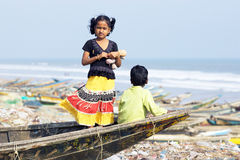 Indian fishermen village Stock Photography