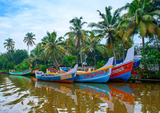 Indian fishing boats  in Kerala Stock Photos