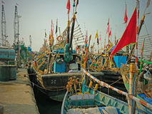 Indian fishing fleet in port Royalty Free Stock Photography