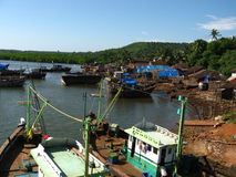 Indian fishing village harbor Royalty Free Stock Images