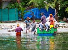 Indian fishmen  in Kerala backwaters Stock Photography