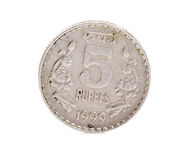 Indian five rupees coin. Isolated on white background