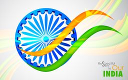 Indian Flag Background. Illustration of wave of Indian flag tricolor with Ashok Chakra Royalty Free Stock Images
