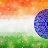 Indian flag background. Indian flag design, on festive and glitter bokeh background stock illustration