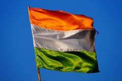 Indian flag. Blue sky on the background royalty free stock photos