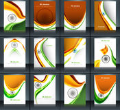Indian flag brochure stylish wave template collect. Ion illustration for independence day Stock Photography