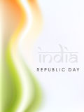 Indian flag color creative wave background with Asoka wheel. Royalty Free Stock Images