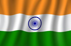 Indian flag 3d vector, national banner of India royalty free illustration