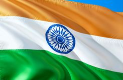 Indian flag. 3D Waving flag design. The national symbol of India, 3D rendering. Indian National colors. India 3D Waving sign royalty free illustration