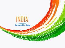 Indian flag design in wave style. With scribble effects Royalty Free Stock Photography
