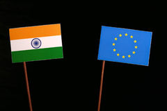 Indian flag with European Union EU flag  on black. Background Stock Photos