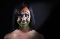 Indian flag face. On a woman Stock Photo