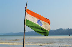 Indian Flag. On a fishing boat stock images