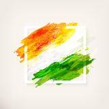 Indian flag in frame. Happy Indian Independence Day celebration - 15th August. Creative watercolor background in frame. Hand drawn watercolor flag. Template for Royalty Free Stock Image