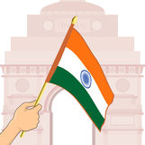 Indian Flag in front of India Gate. Stock Images