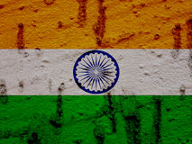 Indian Flag On Grunge Wall Background Stock Photo