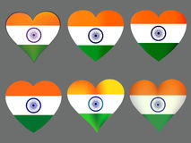 Indian flag in heart. Collection of hearts with the Indian flag. Vector Royalty Free Stock Photo