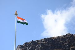 Indian Flag. On the mountains of Skkim royalty free stock photo