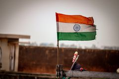 Indian flag. Red white green realistic royalty free stock image