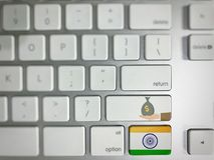 Indian flag. On keyboard stock photos