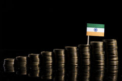 Indian flag with lot of coins on black. Background royalty free stock images