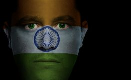 Indian Flag - Male Face. Indian flag painted/projected onto a man's face Stock Photography