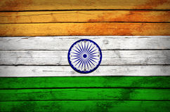 Indian flag painted on wooden boards Stock Photo