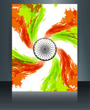 Indian flag presentation template grunge swirl tri. Color wave for republic day brochure art Stock Image