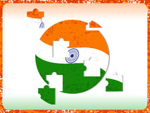 Indian Flag with puzzle on grunge. Royalty Free Stock Photo