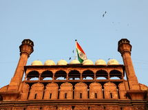 Indian Flag on Red Fort Royalty Free Stock Photos