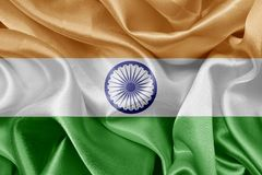 Indian flag. Indian satin flag On fabric texture royalty free stock image
