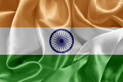 Indian flag. Indian satin flag On fabric texture stock photo