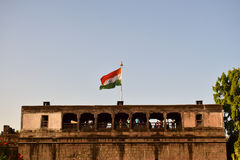 Indian flag at shanivarwada. Indian flag get in the air at shanivarwada pune mahart Royalty Free Stock Images