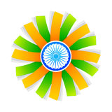 Indian flag style design with wheel. At the center Stock Photography