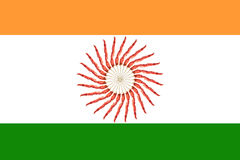 Indian Flag. Symbol in the centre was created by red hot chilli peppers Royalty Free Stock Images