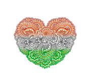Indian flag - traditional ornament of India. Heart shape Royalty Free Stock Photo