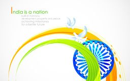 Indian flag tricolor with Ashok Chakra. Illustration of wave of Indian flag tricolor with Ashok Chakra Stock Images