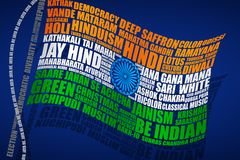Indian Flag in typography style stock illustration