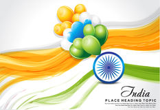Indian flag wave background with balloon. Vector illustration Royalty Free Stock Images