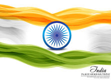 Indian flag wave background. Vector illustration Stock Photos