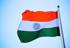 Indian flag waving in the sky Stock Photos